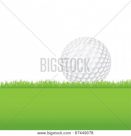 Golf Ball Sitting On A Grass Background Illustration