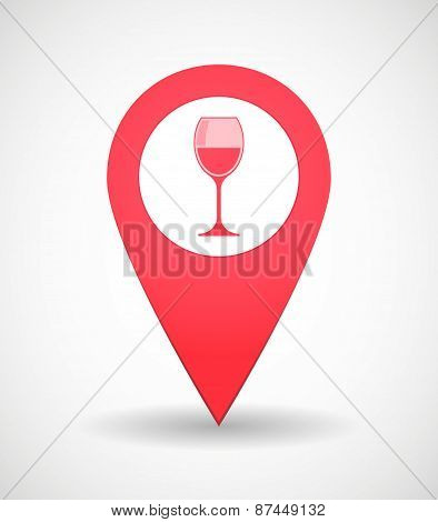 Map Mark Icon With A Cup Of Wine