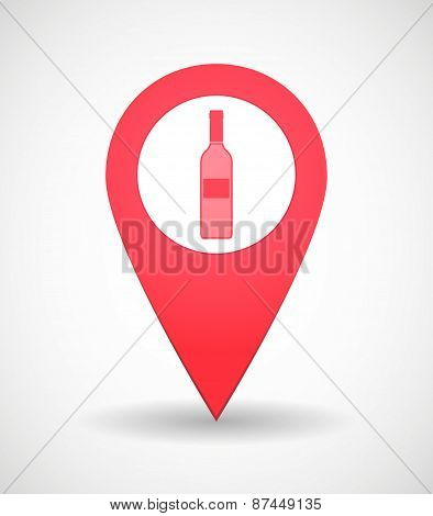 Map Mark Icon With A Bottle Of Wine