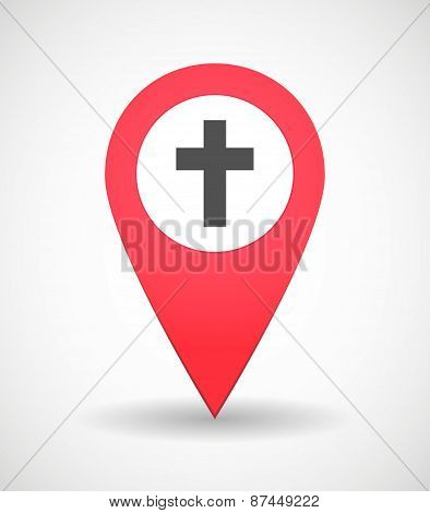 Map Mark Icon With A Cross