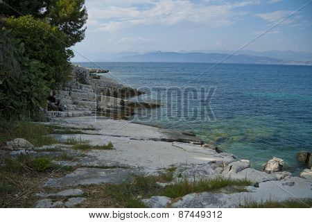 Rocky coast of Corfu island