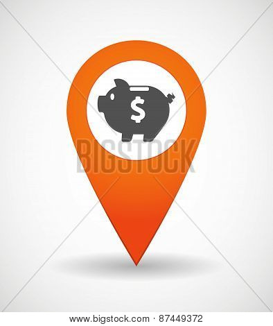 Map Mark Icon With A Piggy Bank