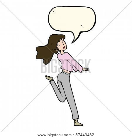 cartoon happy girl kicking out leg with speech bubble