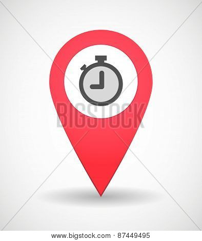 Map Mark Icon With A Timer