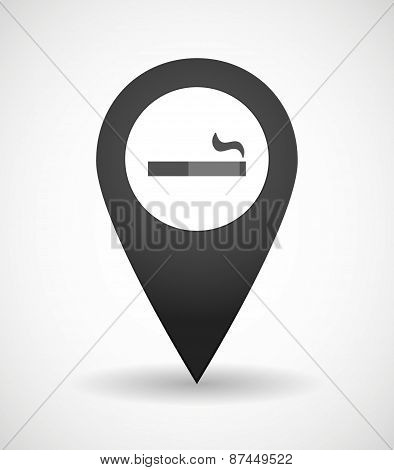 Map Mark Icon With A Cigarette