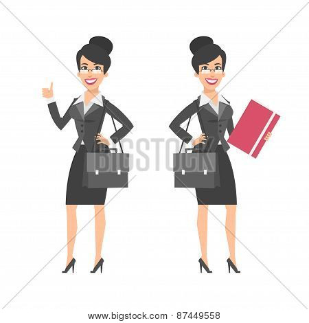 Businesswoman showing thumbs up holding briefcase folder