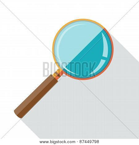 Flat design icon of magnifying glass with long shadow