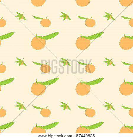 mandarin fruit with green leaves pattter vector