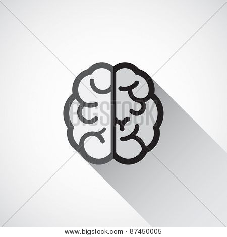 Brain icon in flat style