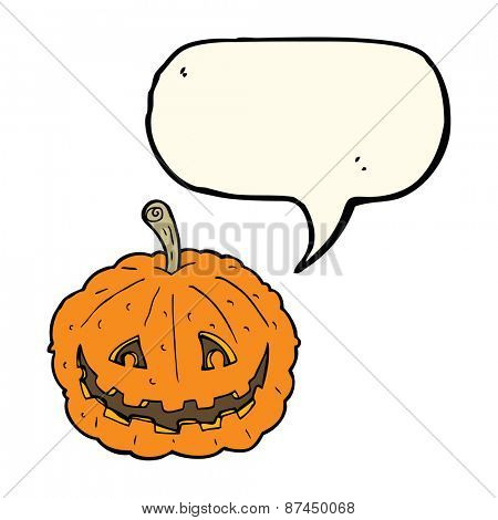 cartoon grinning pumpkin with speech bubble