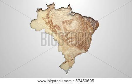 Recessed Country Map Brazil