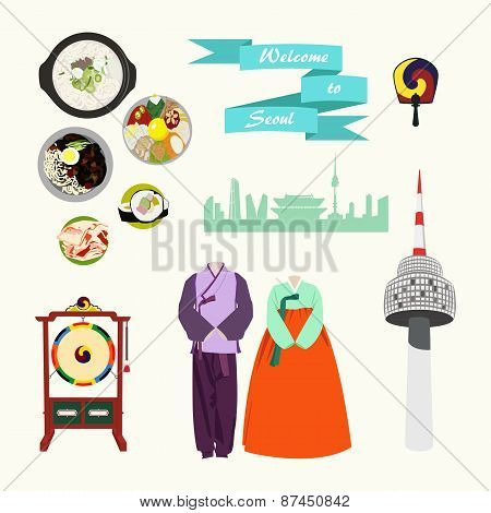 Korean traditional elements vector set