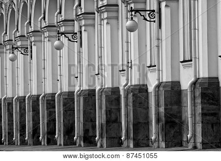 Fragment Of A Facade Of The Grand Kremlin Palace In Moscow, Monochrome