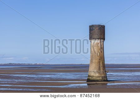 Concrete Tower Construction On Spurn Point Beach Uk