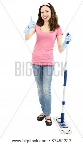Woman Standing With A Cleaning Mop And Giving Thumbs Up