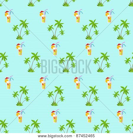 plam tree green pattern with cocktail straw vector