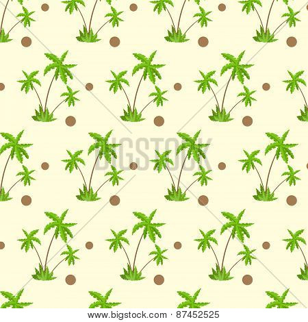 palm tree with coconut pattern over yellow sand