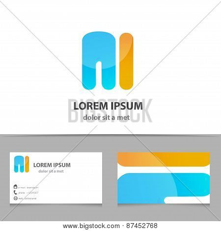 Vector Creative Icon, Letter M With Template Business Card. Modern Idea For Your Company.