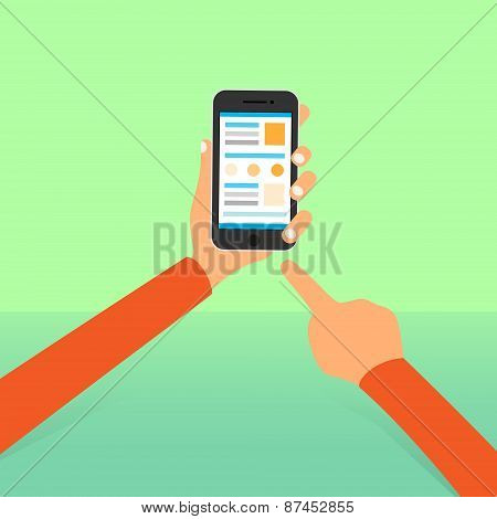 cell smart phone hands point finger tocuh screen icon flat