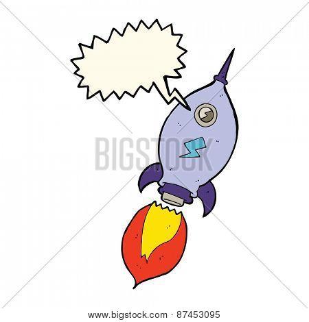 cartoon spaceship with speech bubble