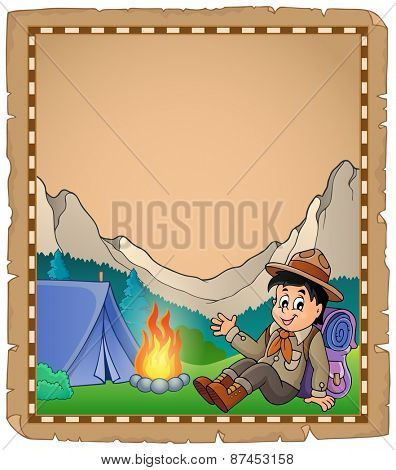 Parchment with scout boy in mountain - eps10 vector illustration.