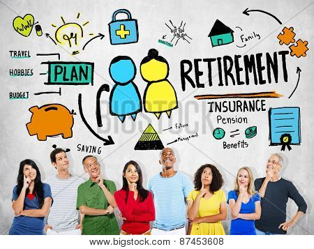 Diversity Casual People Retirement Ideas Team Support Concept
