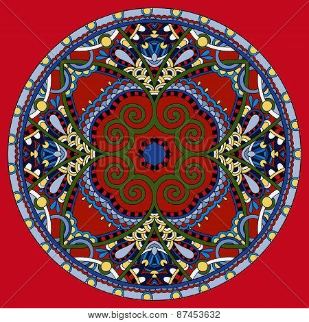 red decorative design of circle dish template