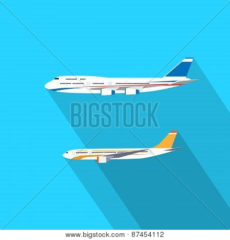 Aircraft Flat Design Style Vector Illustration Airplane