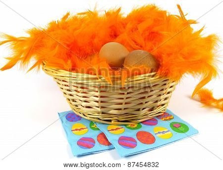 Boiled chicken eggs in orange feathers