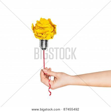 Hand Holding A Light Bulb Of Crumpled Paper Light Bulb Metaphor For Good Idea