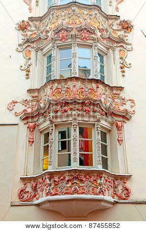 Windows Of Medieval Buildings In Old Town, Innsbruck, Austria