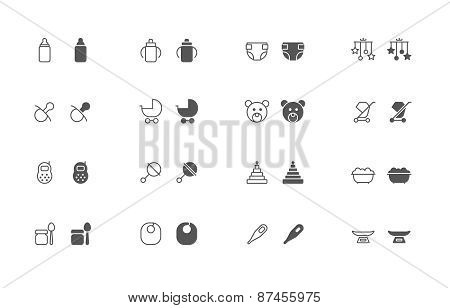 Baby outline and filled icon set
