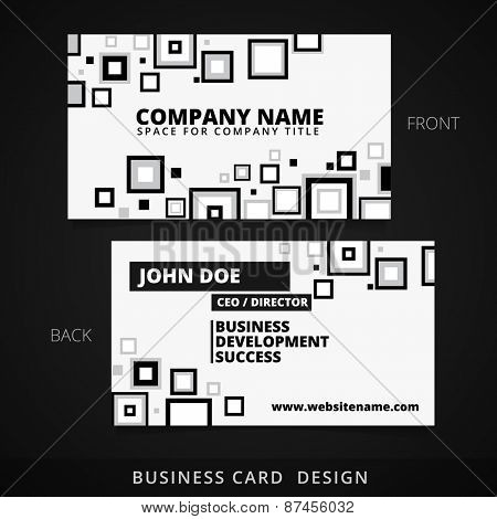 black and white business card vector design with square shapes