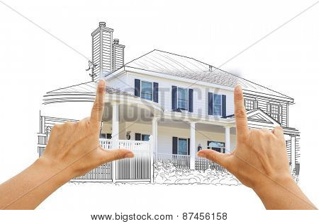 Hands Framing House Drawing and Photo Combination on White.