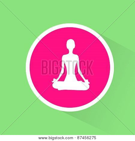yoga lotus position flat icon woman relaxing doing