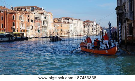 Boat Is Sailing On Grand Canal In Venice, Italy