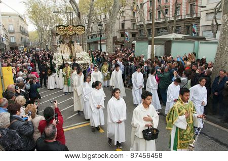 BARCELONA, SPAIN - APRIL 3: The float with the image of the Macarena Virgin during the Good Friday Procession on April 3, 2015 in Barcelona, Spain. This procession passes through the popular Rambla