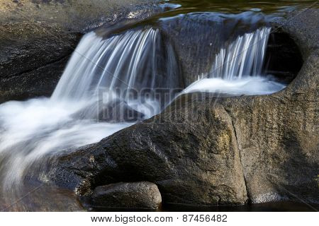 Water flowing over rocks in stream