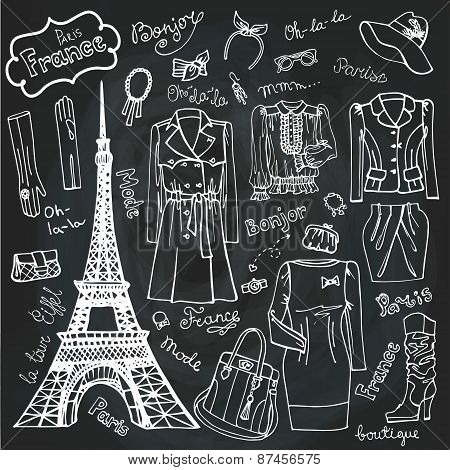 Paris Fashion.Clothing set.Doodle Sketch.Chalkboard outline