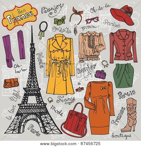 Paris Fashion.Clothing set.Colored doodle Sketch