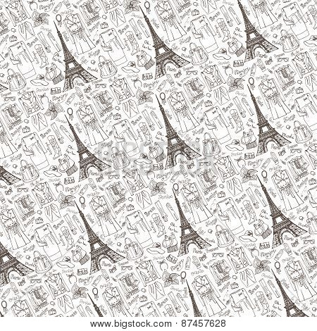 Paris Fashion.Clothing pattern background.Doodle sketch