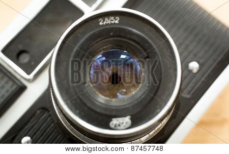 Macro Photo Of Manual Lens For Retro Camera With Iris Aperture