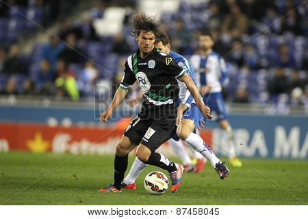 BARCELONA - FEB, 27: Rene Krhin of Cordoba CF during a Spanish League match against RCD Espanyol at the Estadi Cornella on February 27, 2015 in Barcelona, Spain