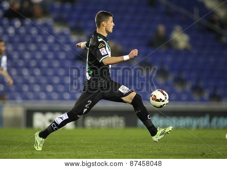 BARCELONA - FEB, 27: Aleksandar Pantic of Cordoba CF during a Spanish League match against RCD Espanyol at the Estadi Cornella on February 27, 2015 in Barcelona, Spain