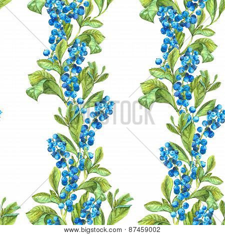 Watercolor Seamless Background with Blue Berries