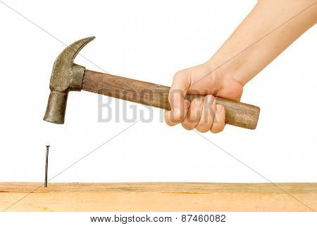 Hammer And Nail Using Hammer And Nail On Wood