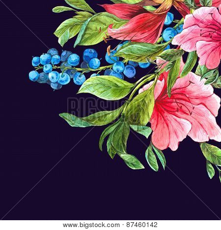 Exotic Vintage Card with Pink Tropical Flowers
