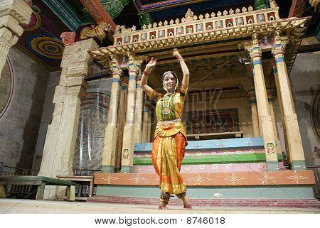 Bharatanatyam dancer in temple