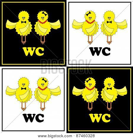 Funny Wc-set With Chicken