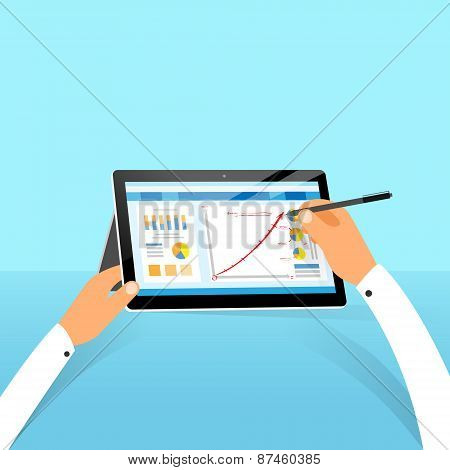 tablet surface finance chart hand draw with stylus pen flat design